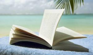 book under palm